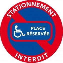 Autocollants interdiction de stationner. Place réservée handicapé (vendu par pack)