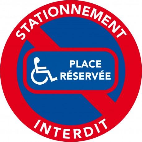 Autocollants interdiction de stationner. Place réservée handicapé
