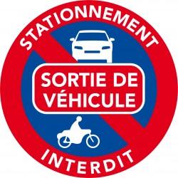 Autocollants interdiction de stationner. Sortie de véhicule (vendu par pack)