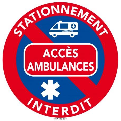 Autocollants dissuasifs - Stationnement gênant - Accès ambulances