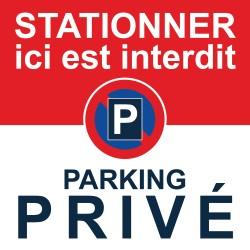 Autocollant stationnement interdit sur parking privé