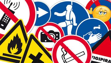 Signalisation entreprise. Autocollant et panneau de signalisation professionnelle